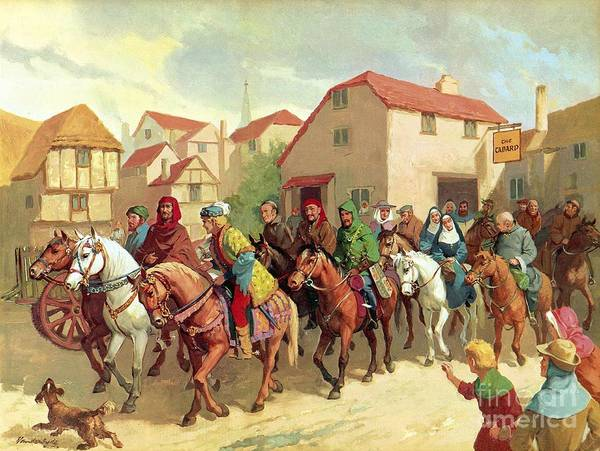 Chaucer's Pilgrims ;geoffrey Chaucer; The Canterbury Tales; Tabard Inn; Horses; Pilgrimage; To Canterbury Art Print featuring the painting Chaucer's Pilgrims by van der Syde