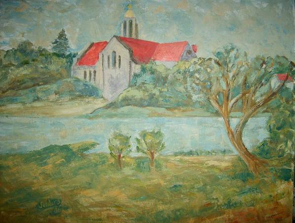 Landscape Churches River Trees Art Print featuring the painting Church Across River by Joseph Sandora Jr