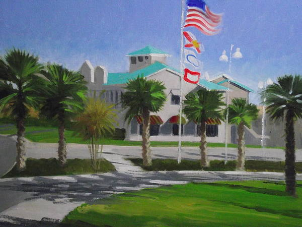 Flags Art Print featuring the painting City Walk Afternoon by Robert Rohrich