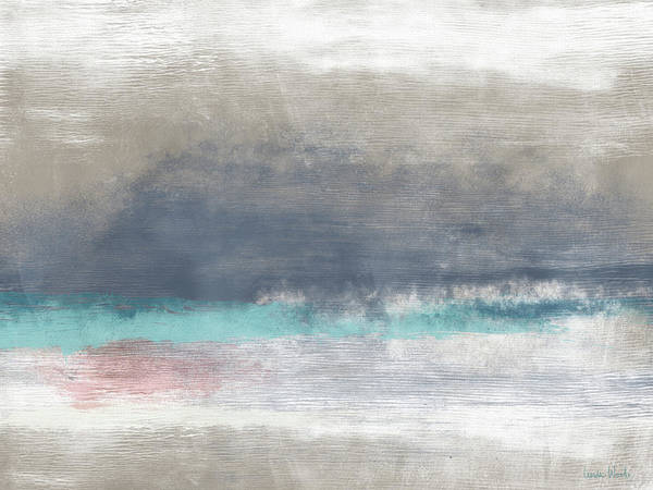 Coastal Art Print featuring the mixed media Coastal Escape-abstract Art By Linda Woods by Linda Woods