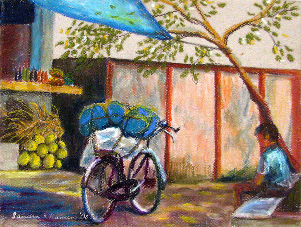 India Art Print featuring the painting Coconut Stand by Art Nomad Sandra Hansen