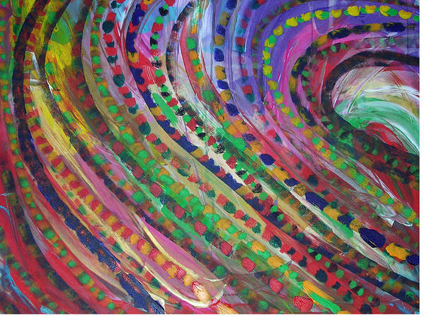 Abstract Art Print featuring the painting Color Storm by Russell Simmons
