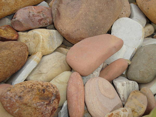 Beach Art Print featuring the digital art Colorful Stones by Wendy Housholder