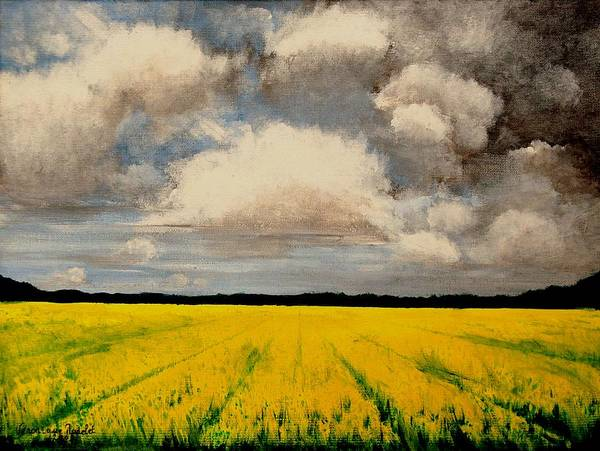 Flowers Art Print featuring the painting Colza Field by Veronique Radelet
