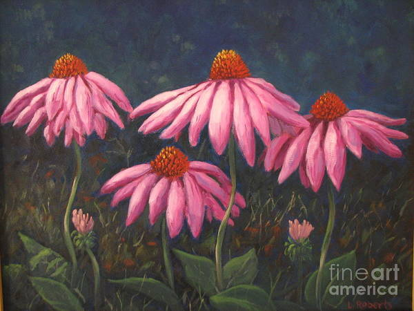 Floral Art Print featuring the painting Coneflowers by Laura Roberts