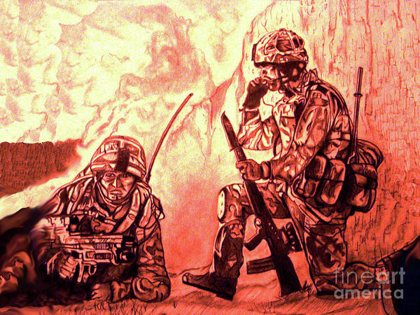 Drawings Art Print featuring the drawing Confrontation by Johnee Fullerton