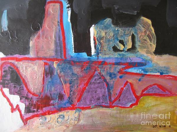 Abstract Paintings Art Print featuring the painting Contradiction Of Time by Seon-Jeong Kim
