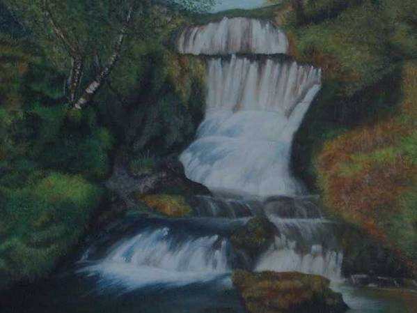 Waterfall Art Print featuring the painting Cool Waters by Nellie Visser