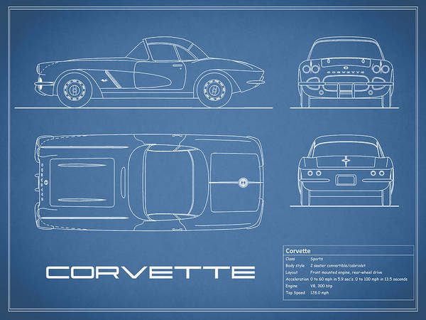 Corvette C1 Blueprint Art Print By Mark Rogan
