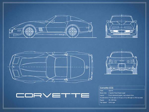 Corvette c3 blueprint art print by mark rogan chevrolet corvette art print featuring the photograph corvette c3 blueprint by mark rogan malvernweather Gallery