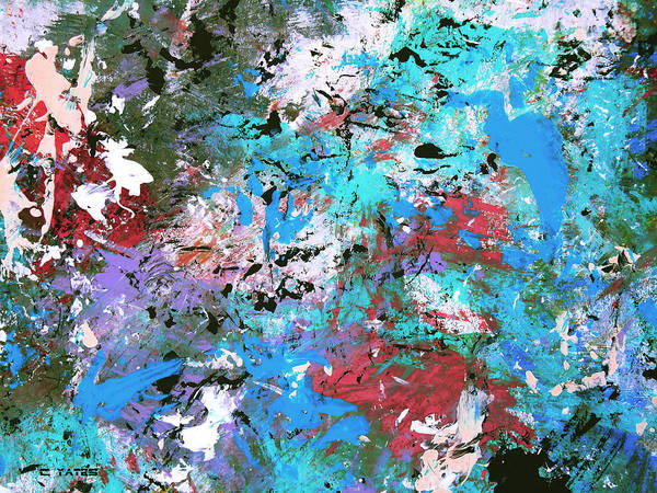 Abstract Art Print featuring the painting Cosmic Cave Art by Charles Yates