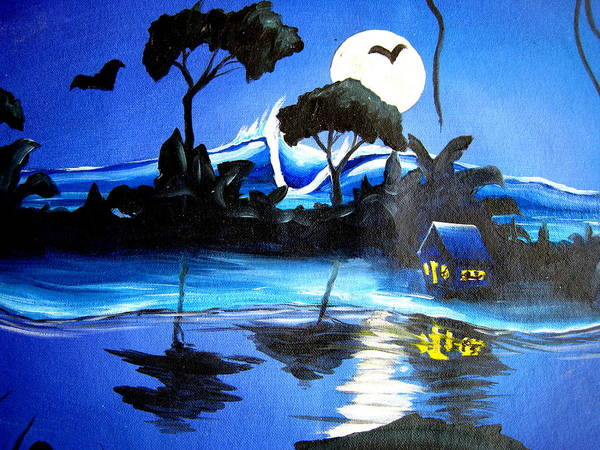 Surf Art Print featuring the painting Costarica Nightlife by Ronnie Jackson