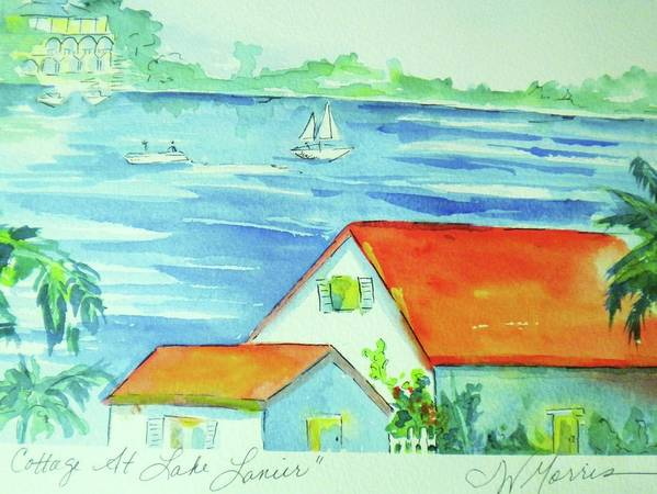 Lake Art Print featuring the painting Cottage On Lake Lanier by Jill Morris