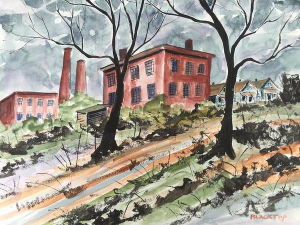 Landscape Cotton Cotton Mill Abandoned Mill Art Print featuring the painting Cotton Mill by Ken Blacktop Gentle