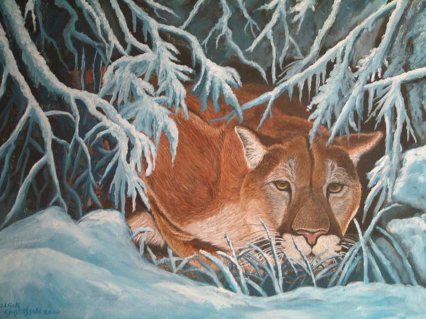 Cougar Snow Wildlife Nature Art Print featuring the painting Cougar In Snow by Nick Gustafson