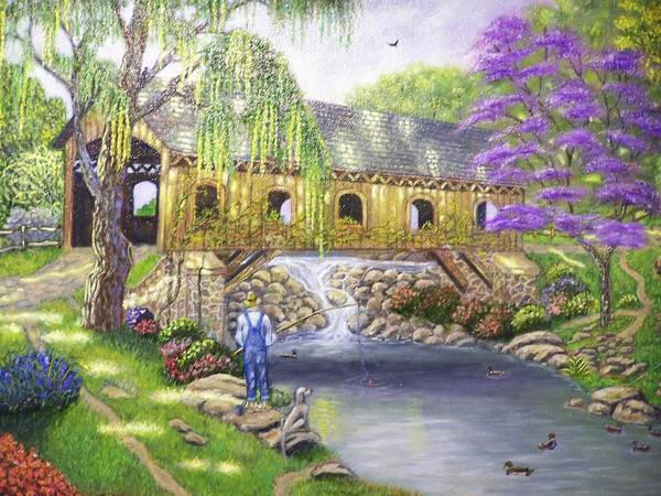 Landscape Art Print featuring the painting Covered Bridge by Charles Vaughn