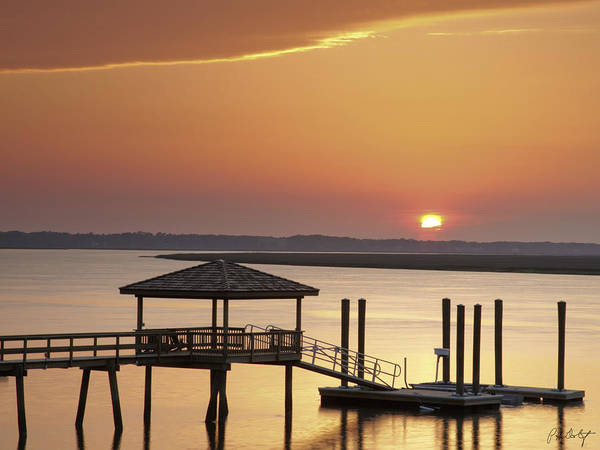 Sunset Art Print featuring the photograph Covered Dock by Phill Doherty