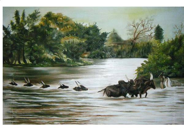 Cows Art Print featuring the painting Cow Habitant by Olaoluwa Smith