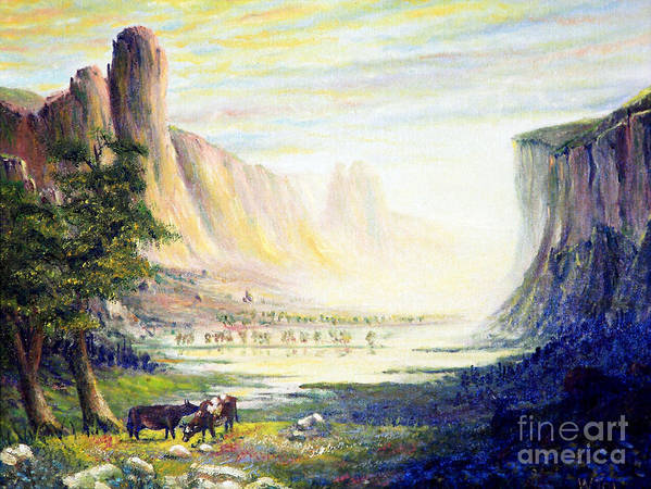 Cow Art Print featuring the painting Cows In The Mountain by Wingsdomain Art and Photography