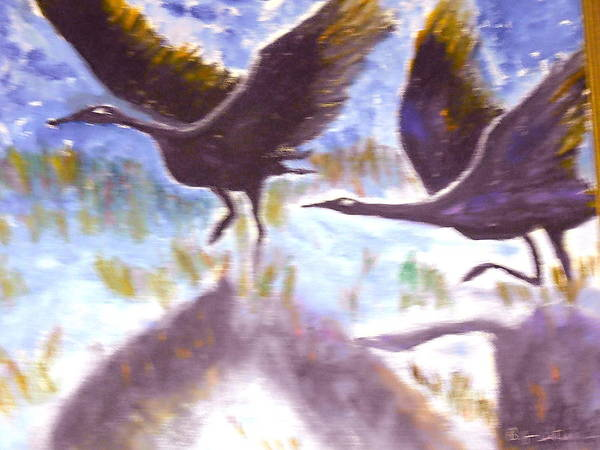Folk Art Art Print featuring the painting Cranes N Flight by BJ Abrams
