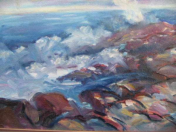 Waves Art Print featuring the painting Crashing Waves On Rocks by Richard Nowak