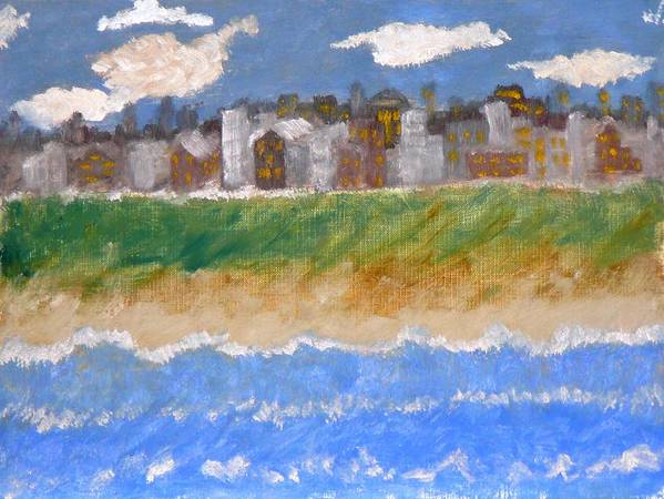 Seascape Art Print featuring the painting Crowded Beaches by R B