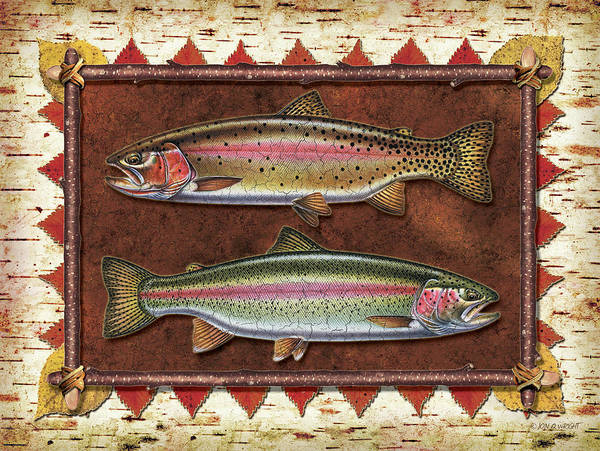 Trout Art Print featuring the painting Cutthroat And Rainbow Trout Lodge by JQ Licensing