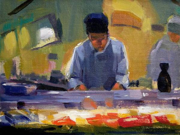 Sushi Art Print featuring the painting Cutting Sushi by Merle Keller