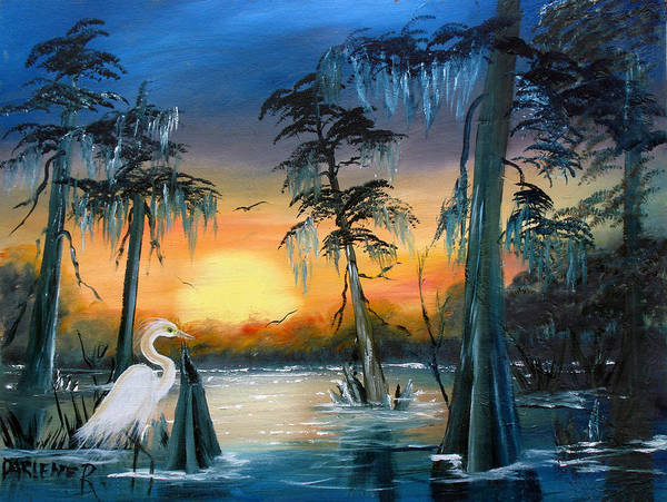 Swamp Art Print featuring the painting Cypress Swamp by Darlene Green