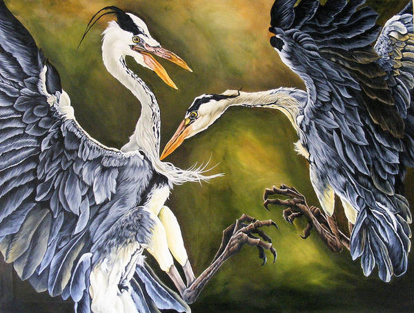 Herons Art Print featuring the painting Dance Of Life by Donald Dean