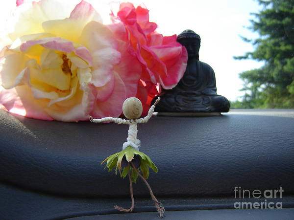 Dancing Art Print featuring the photograph Dancing Before Buddha And Roses by Eric Singleton
