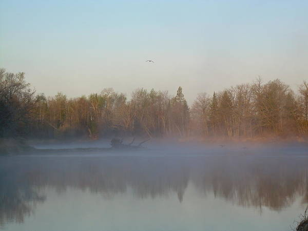 Mississippi River Art Print featuring the photograph Dawn Fog Over Mississippi River by Kent Lorentzen