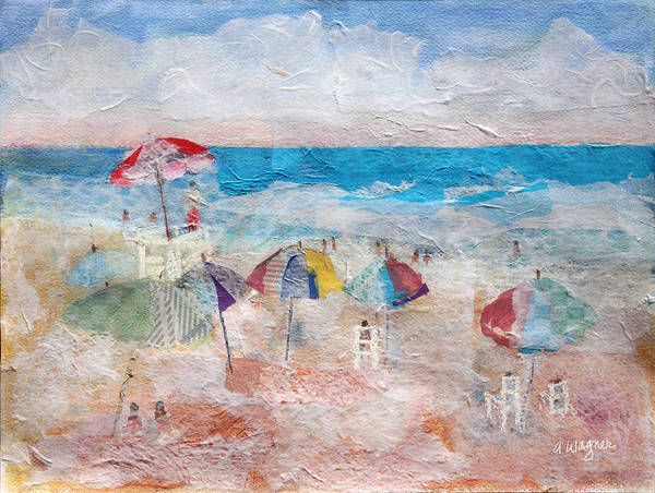 Beach Art Print featuring the mixed media Day At The Beach by Arline Wagner