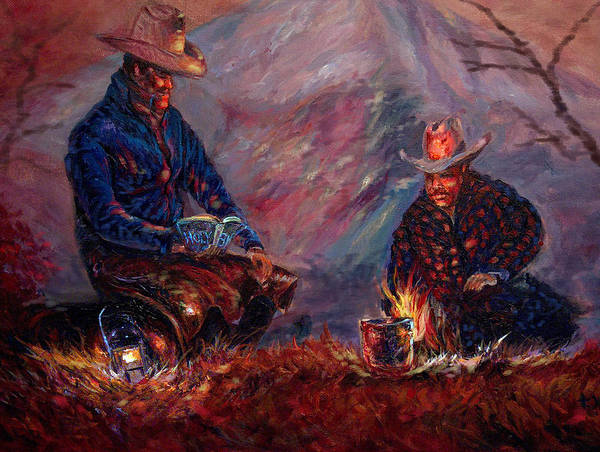Campfire Art Print featuring the painting days done II by Tommy Winn