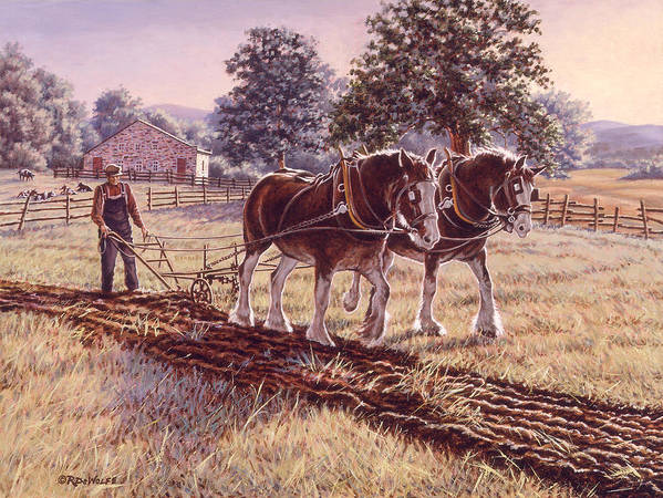 Horses Print featuring the painting Days Of Gold by Richard De Wolfe