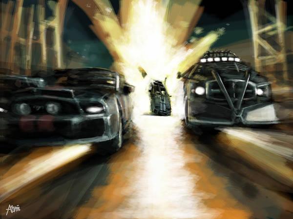 Car Art Print featuring the digital art Deathrace by Alvin Goh