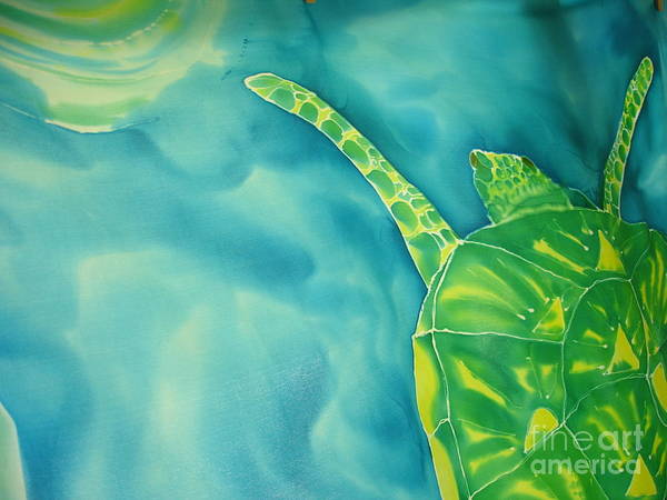 Sea Turtle Art Print featuring the painting Deep Sea Flight by Eric Singleton