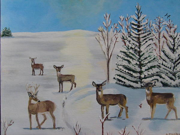 Deer Art Print featuring the painting Deer On The Frozen Lake by Aleta Parks