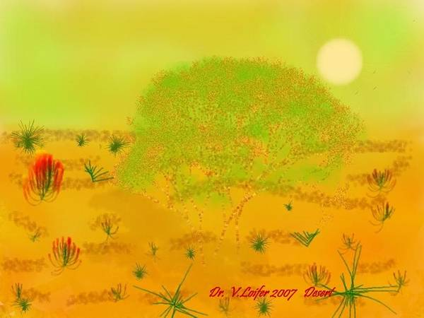 Sky.heat.dust.sun.desert.bush.sand.prickles. Sandy Dunes.rest.silence. Art Print featuring the digital art Desert by Dr Loifer Vladimir