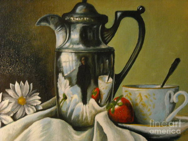 Art Print featuring the painting Detail Of Reflective Urn With Flowers by R Zulienn
