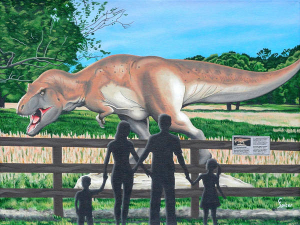 Dinosaur Art Print featuring the painting Dinosaur Country by Christopher Spicer