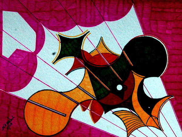 Op Art Print featuring the painting Diving Birds by Willie McNeal