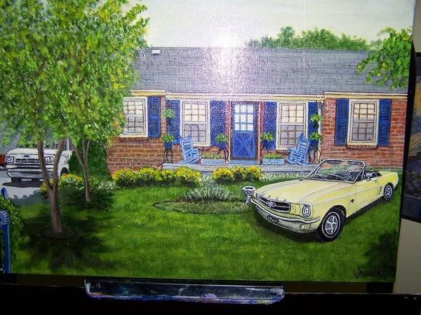 Landscape House Car Mustang Art Print featuring the painting Dougs Place by Charles Vaughn