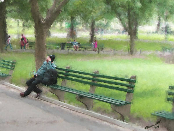 Boston Common Homeless Old Man Green Bench Park Art Print featuring the painting Down But Not Out by Eddie Durrett