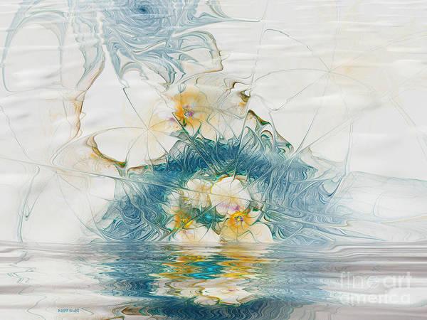 Fractal Art Print featuring the digital art Dreamy World In Blue by Deborah Benoit