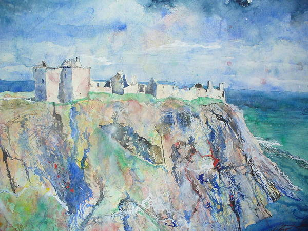Dunnottar Castle Art Print featuring the painting Dunnottar Castle Stonehaven by Robert Hogg
