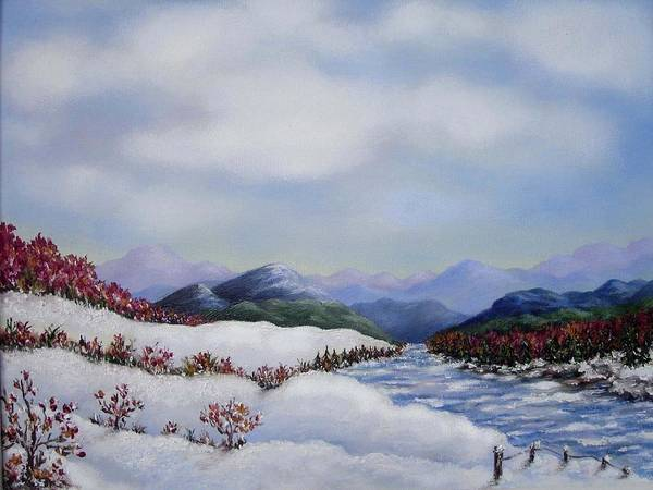 Winter Art Print featuring the painting Early Snow by Anh T Chau