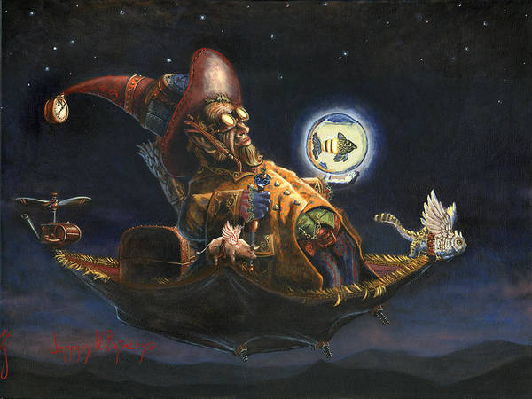 Wizard Art Print featuring the painting Edwin And Norbert At It Again by Jeff Brimley