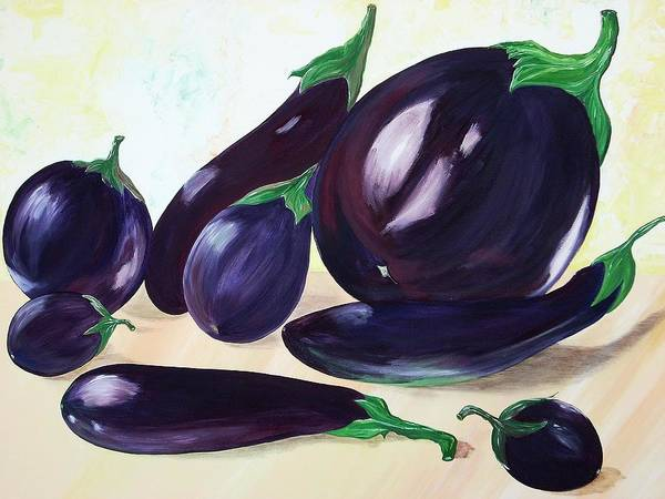 Vegetables Art Print featuring the painting Eggplants by Murielle Hebert