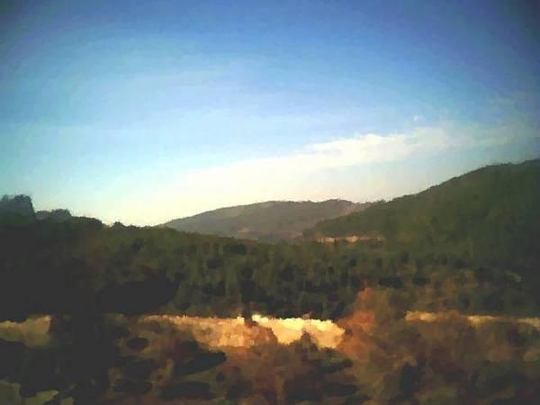 Sky.blue.little Clouds.foresty Hills.low Hills.forest.valley.trees.rest.silence.calm. Art Print featuring the digital art Ein-kerem Valley by Dr Loifer Vladimir